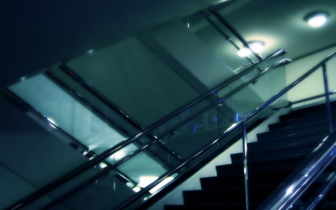 lights indoors glass architecture stairways modern reflections wallpaper