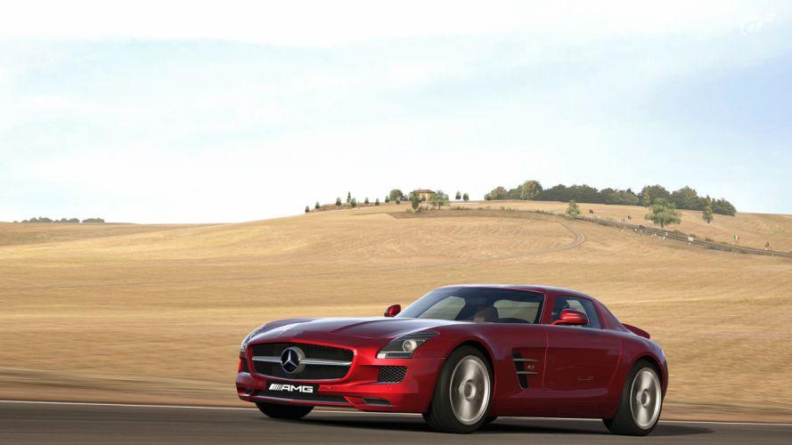 video games cars Gran Turismo 5 Playstation 3 Mercedes Benz SLS AMG Black Series wallpaper