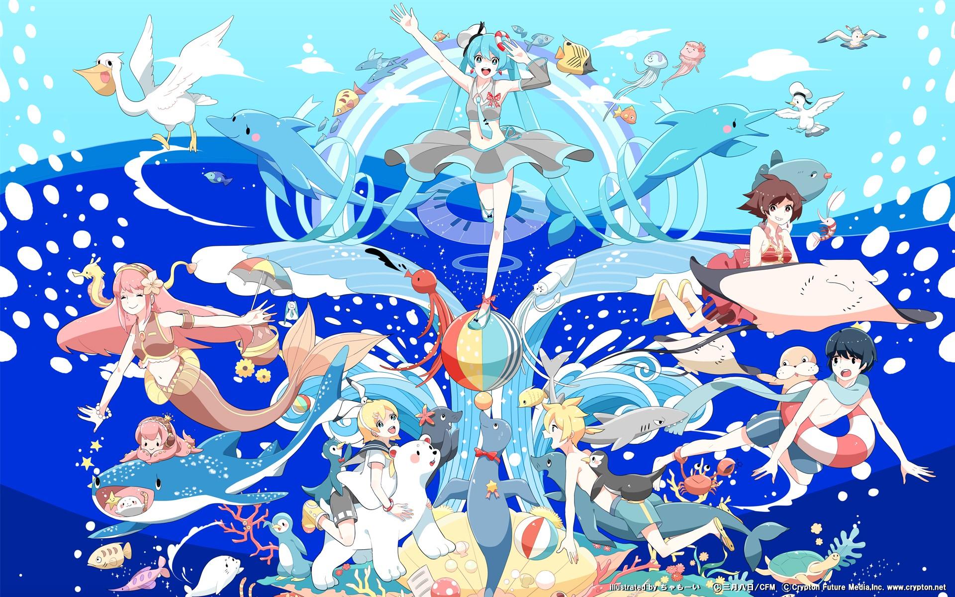 Brunettes Blondes Water Clouds Vocaloid Hatsune Miku Birds