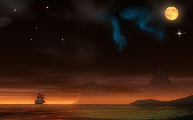 night pirate ship planets Moon aurora borealis wallpaper