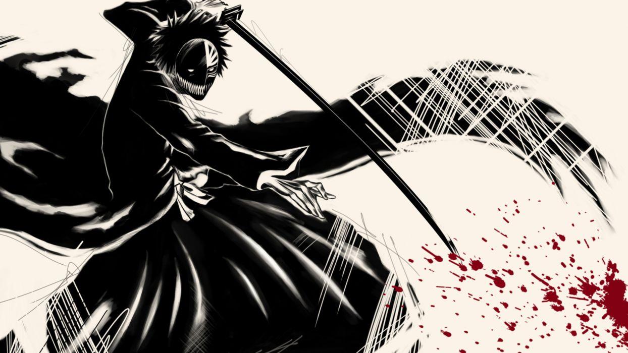 blood Bleach Hollow Ichigo zanpakuto wallpaper