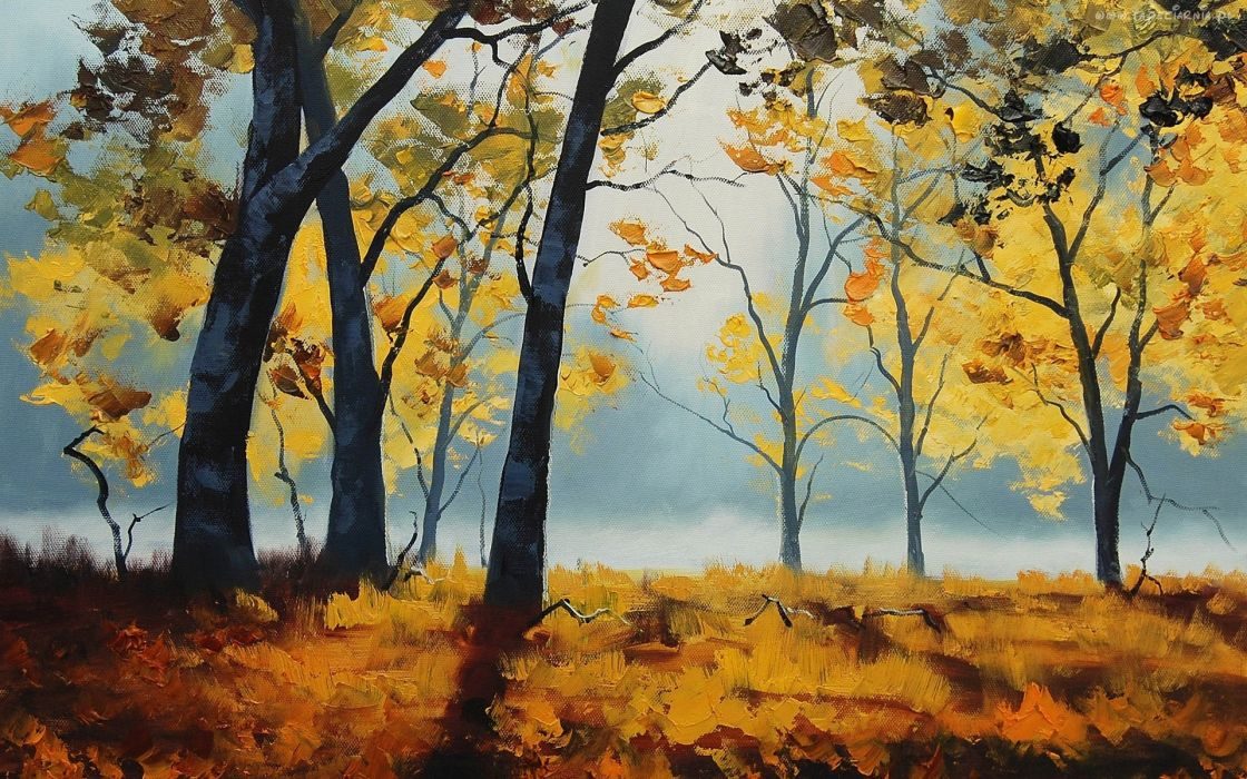 paintings landscapes nature trees autumn drawings wallpaper