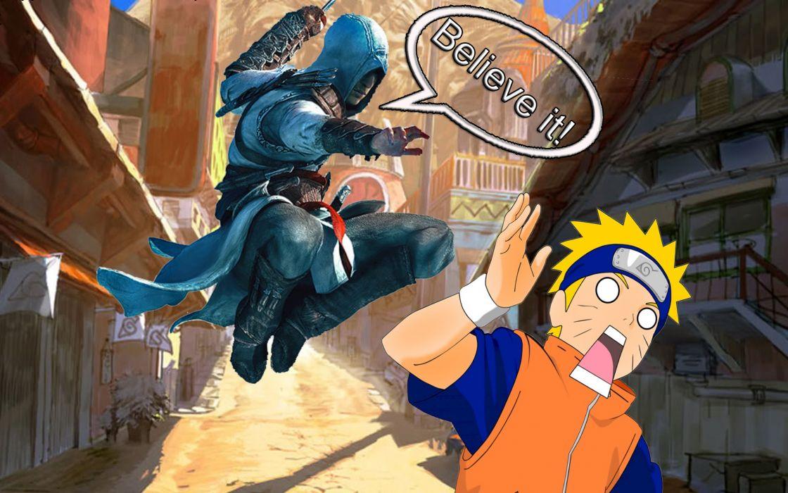 Assassins Creed Altair Ibn La Ahad Naruto: Shippuden assassination Uzumaki Naruto crossovers wallpaper