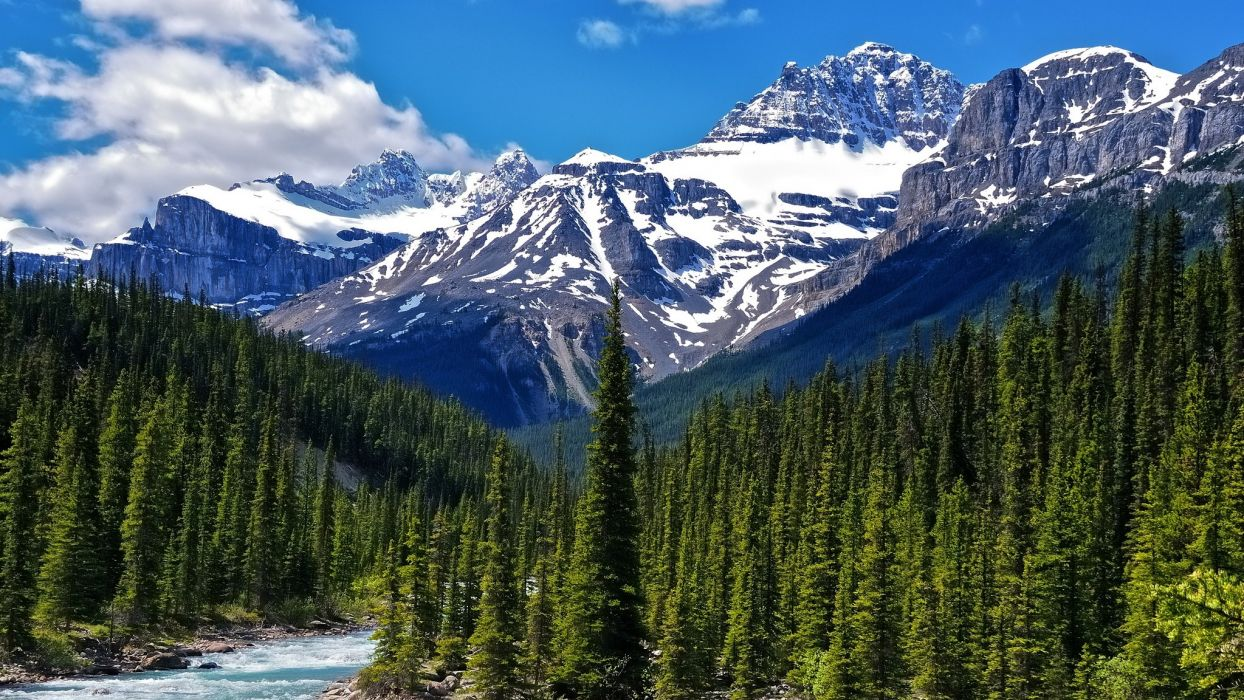 Green Water Mountains Clouds Landscapes Nature Snow Trees White Forests Canada Alberta Rivers National Park Light