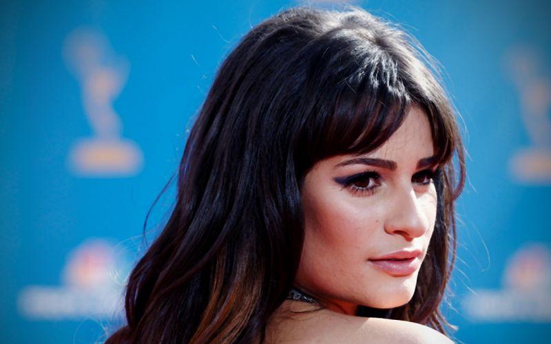 brunettes women actress Lea Michele faces wallpaper