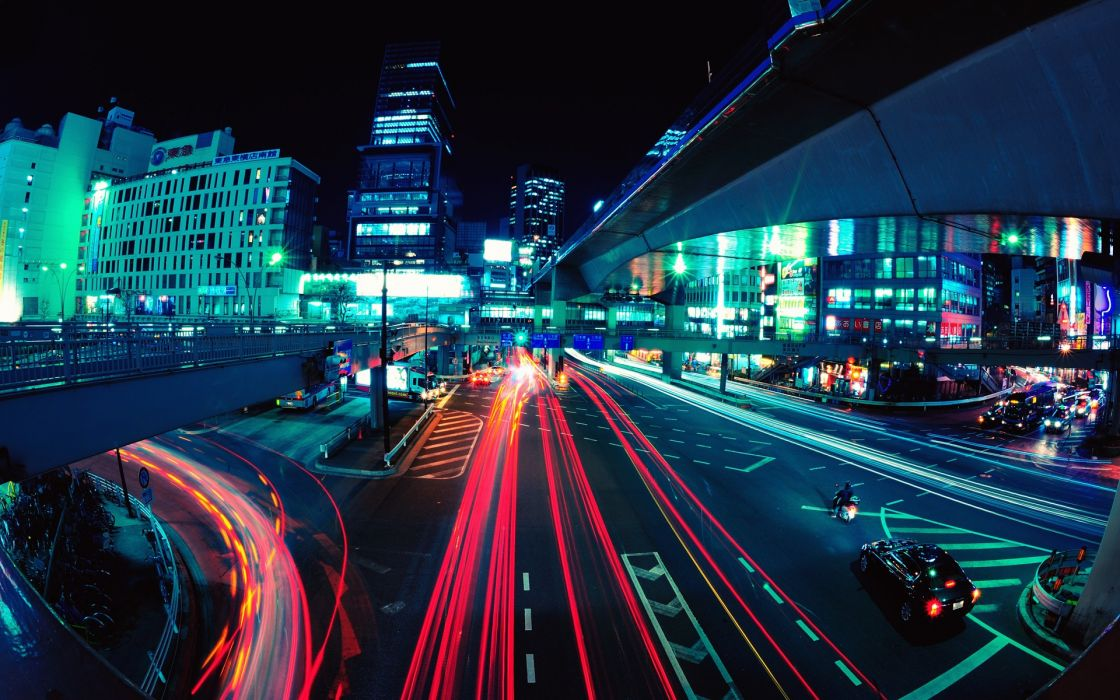 light Tokyo cityscapes streets night buildings traffic long exposure fisheye effect light trails Shibuya wallpaper