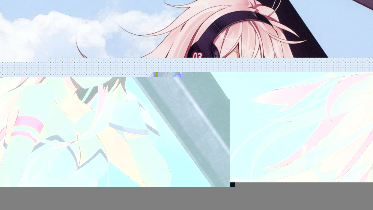headphones clouds Vocaloid blue eyes cleavage Megurine Luka long hair pink hair cuffs anime girls armbands skies wallpaper