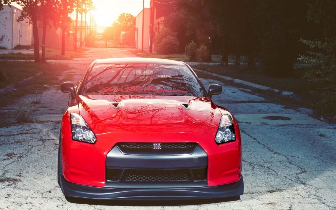 Cars Red Front View Nissan GTR R35 Wallpaper