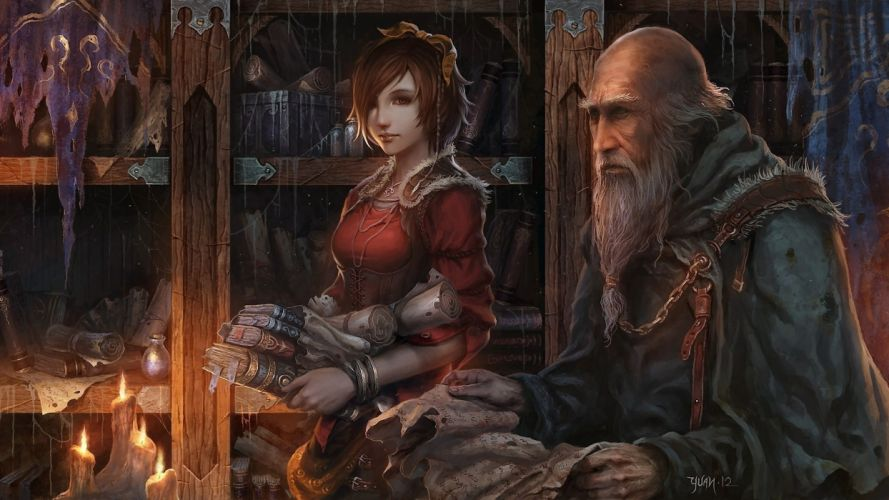 Diablo fantasy art books artwork realistic Diablo III scrolls candles soft shading steam punk Deckard Cain wallpaper