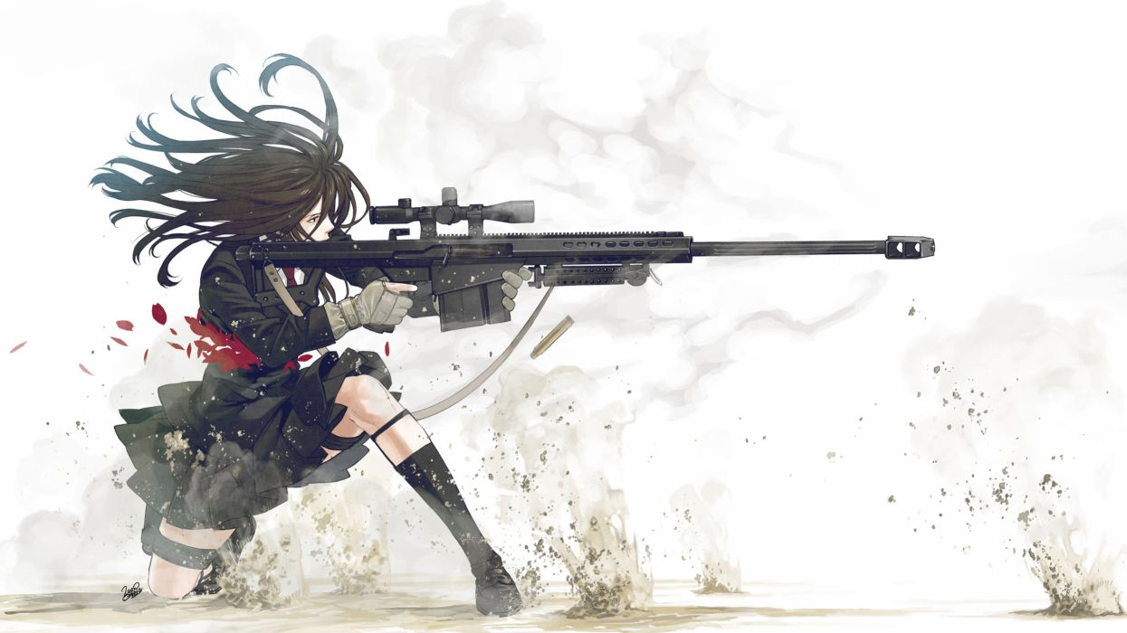 school uniforms snipers anime simple background Kozaki Yusuke original characters wallpaper