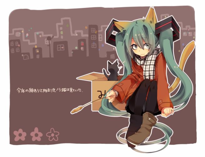Vocaloid Hatsune Miku long hair twintails aqua eyes aqua hair hair ornaments wallpaper