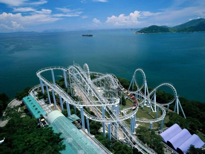 water clouds landscapes roller coasters wallpaper