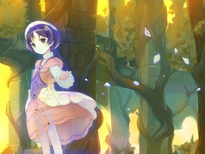 atelier ayesha black eyes black hair dress hat nio altugle pantyhose petals short hair takeda yukimura tree wallpaper