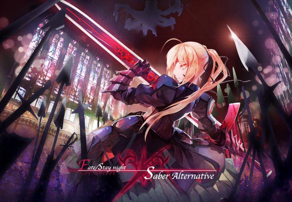 fate stay night armor blonde hair dress logo long hair ponytail ribbons saber saber alter sword weapon yellow eyes wallpaper