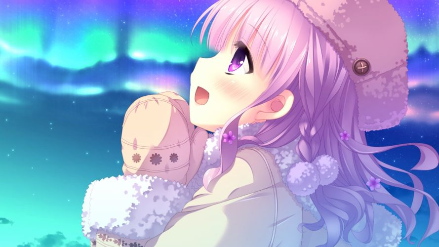imouto no okage de mote sugite yabai blush close clouds flowers game cg hat hulotte ikegami akane long hair purple eyes purple hair sky stars yonaga aoba wallpaper