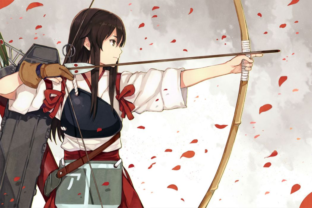 kantai collection akagi (kancolle) black hair bow (weapon) brown eyes gloves hao (patinnko) japanese clothes kantai collection long hair petals weapon wallpaper