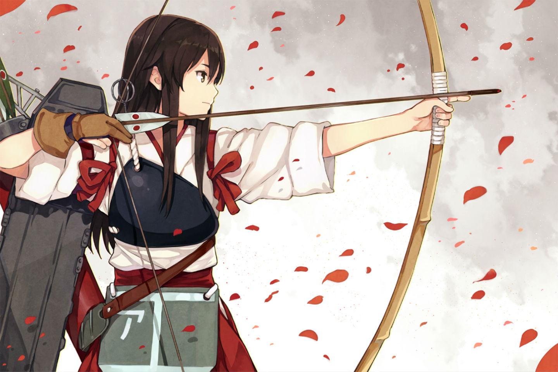 kantai collection akagi kancolle black hair bow weapon