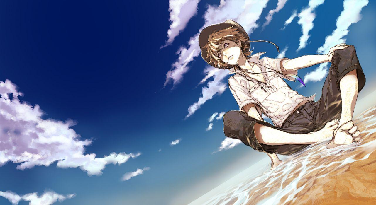 original barefoot brown hair clouds hat male miwa shirow necklace original shirt short hair sky water wallpaper