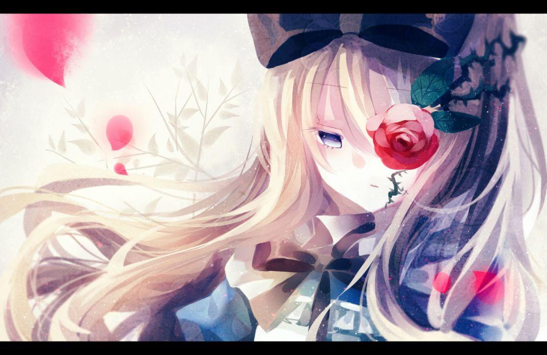original blonde hair blue eyes bow flowers leaves long hair nanna (irasutokanakili) original petals rose wallpaper