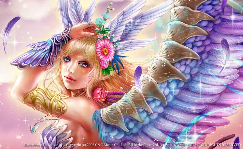 original blonde hair blue eyes feathers flowers long hair necklace original pointed ears usuda hiro watermark wings wallpaper