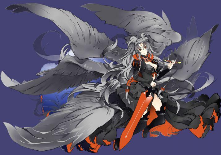 original boots braids dress gray hair long hair ng4 orange eyes original sword thighhighs weapon wings wallpaper