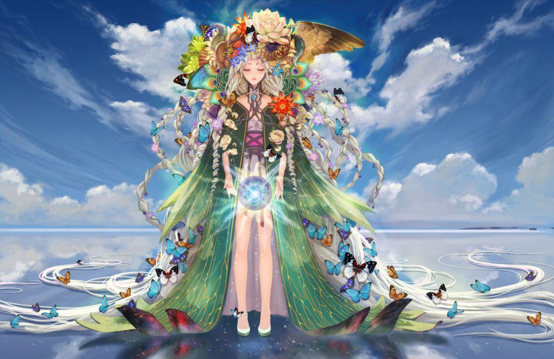 original braids butterfly clouds flowers long hair original sky teddy yang wings wallpaper