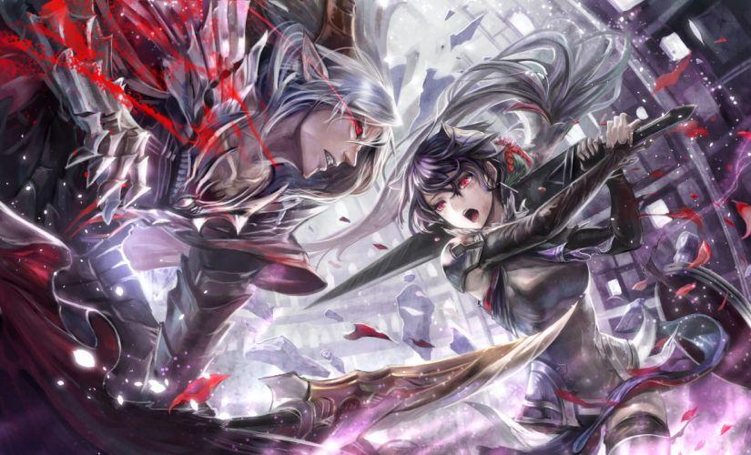 pixiv fantasia armor black hair gray hair horns long hair petals pixiv fantasia pointed ears red eyes sakazu mekasuke sword weapon wallpaper