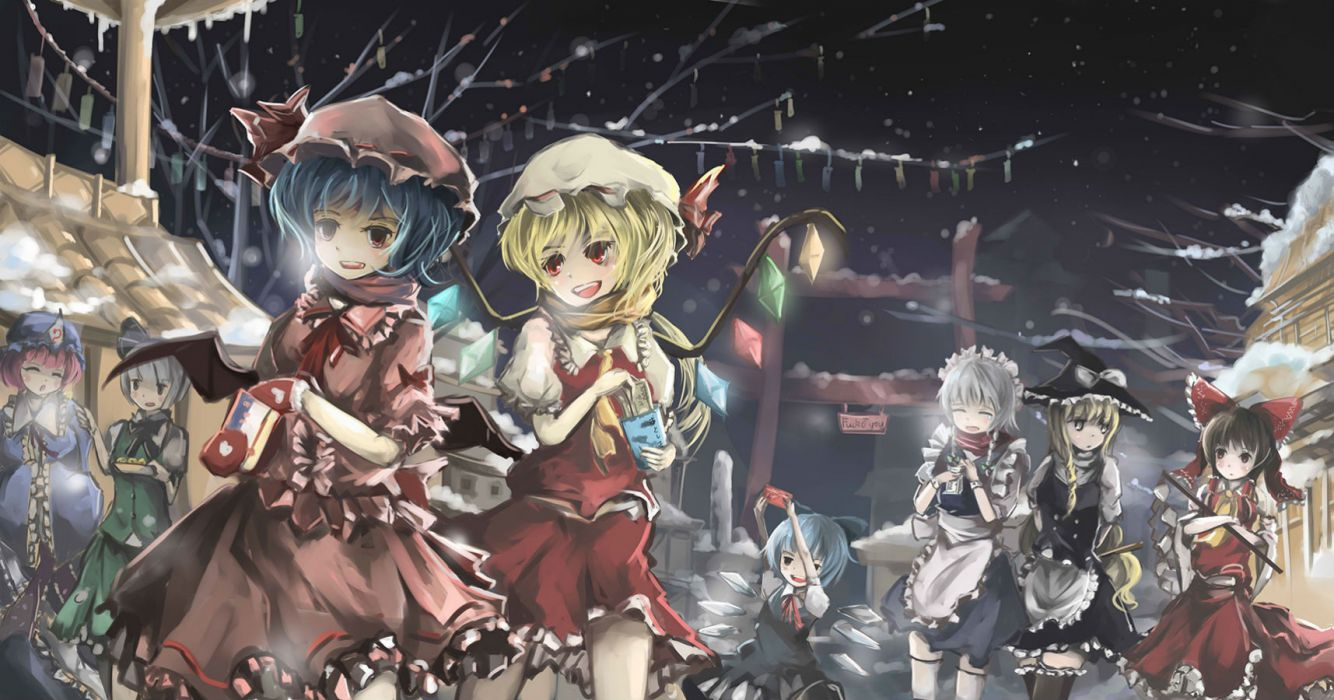 touhou blue hair bow braids cirno dress gloves gray hair group hat headdress maid miko pink hair qianqian red eyes scarf snow torii touhou wings winter wallpaper