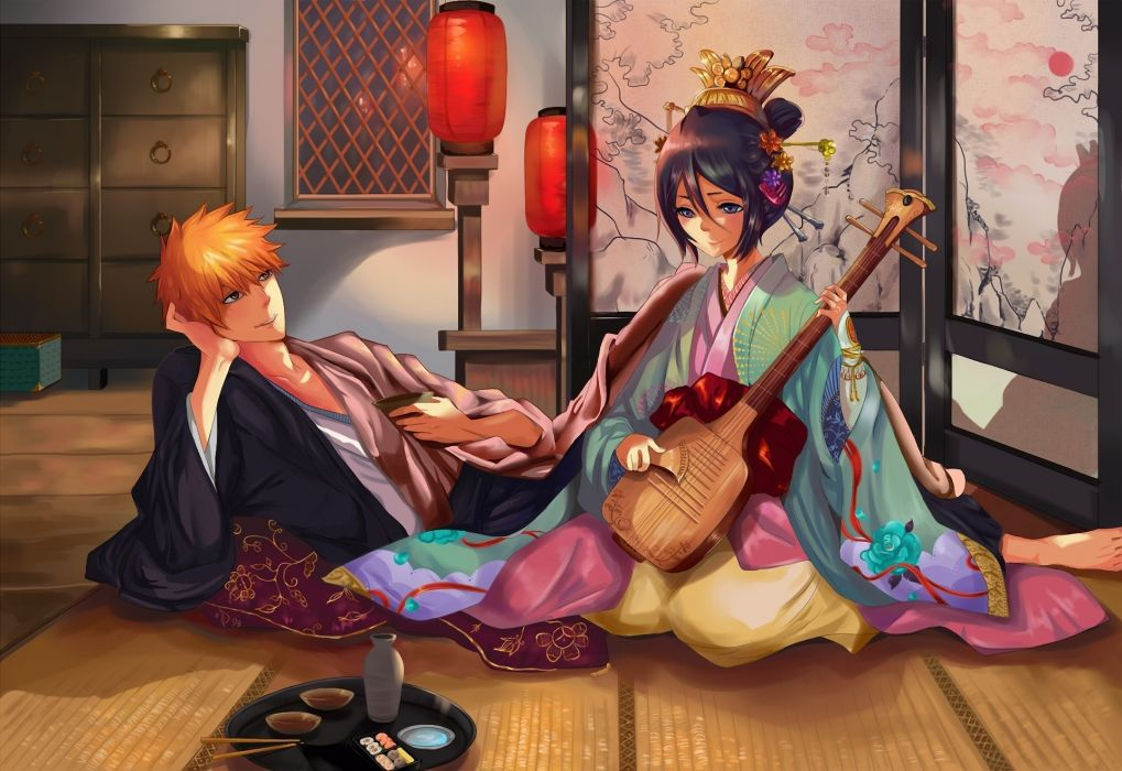 Bleach Kurosaki Ichigo artwork Kuchiki Rukia anime sake fan art wallpaper