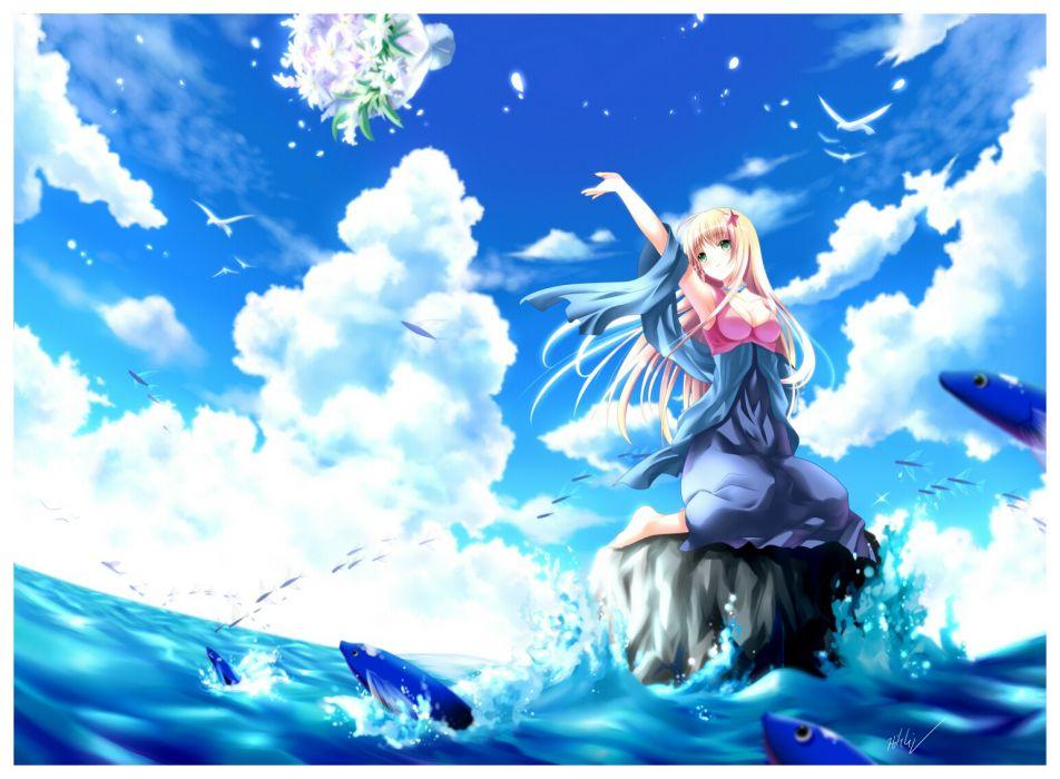 women blue sea wallpaper