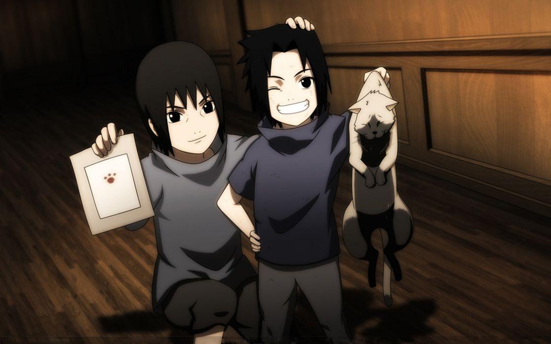 cats Uchiha Sasuke Naruto: Shippuden Uchiha Itachi anime anime boys paws brothers children wallpaper