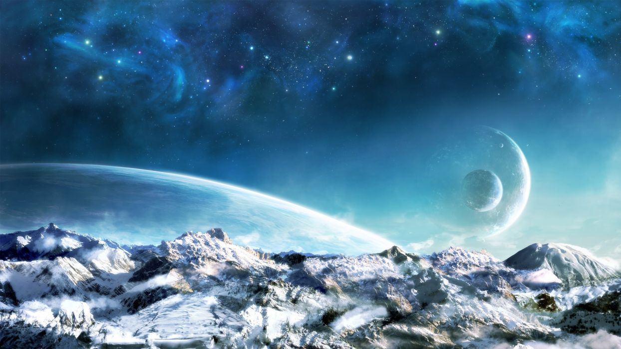 mountains landscapes snow outer space stars planets rise sci-fi wallpaper