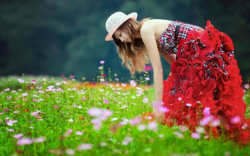 brunettes women skirts Asians hats girls in nature wallpaper
