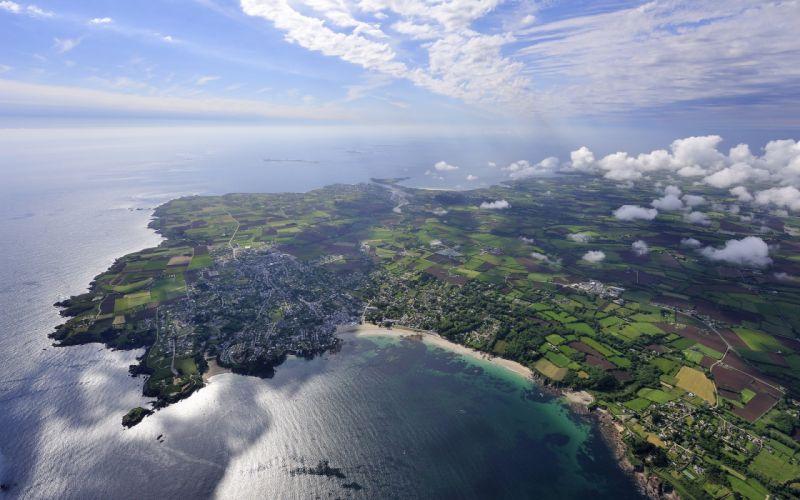 water clouds nature coast houses fields aerial view blue skies sea wallpaper