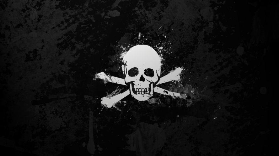 black and white skulls death wallpaper