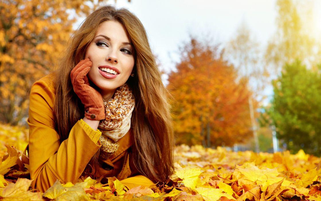 brunettes women autumn leaves wallpaper