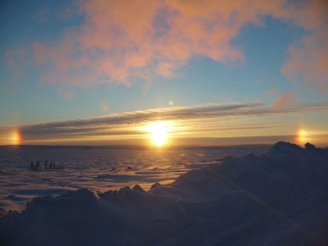 sunrise landscapes nature snow arctic wallpaper