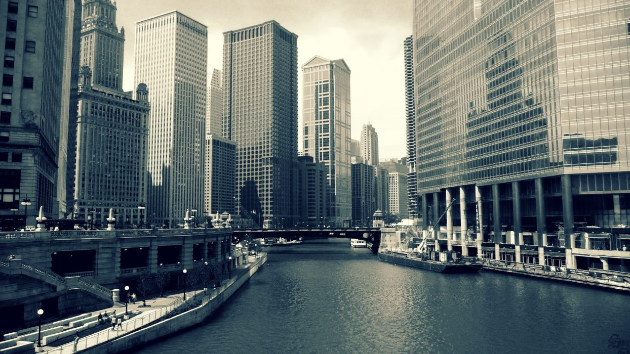 cityscapes Chicago rivers wallpaper