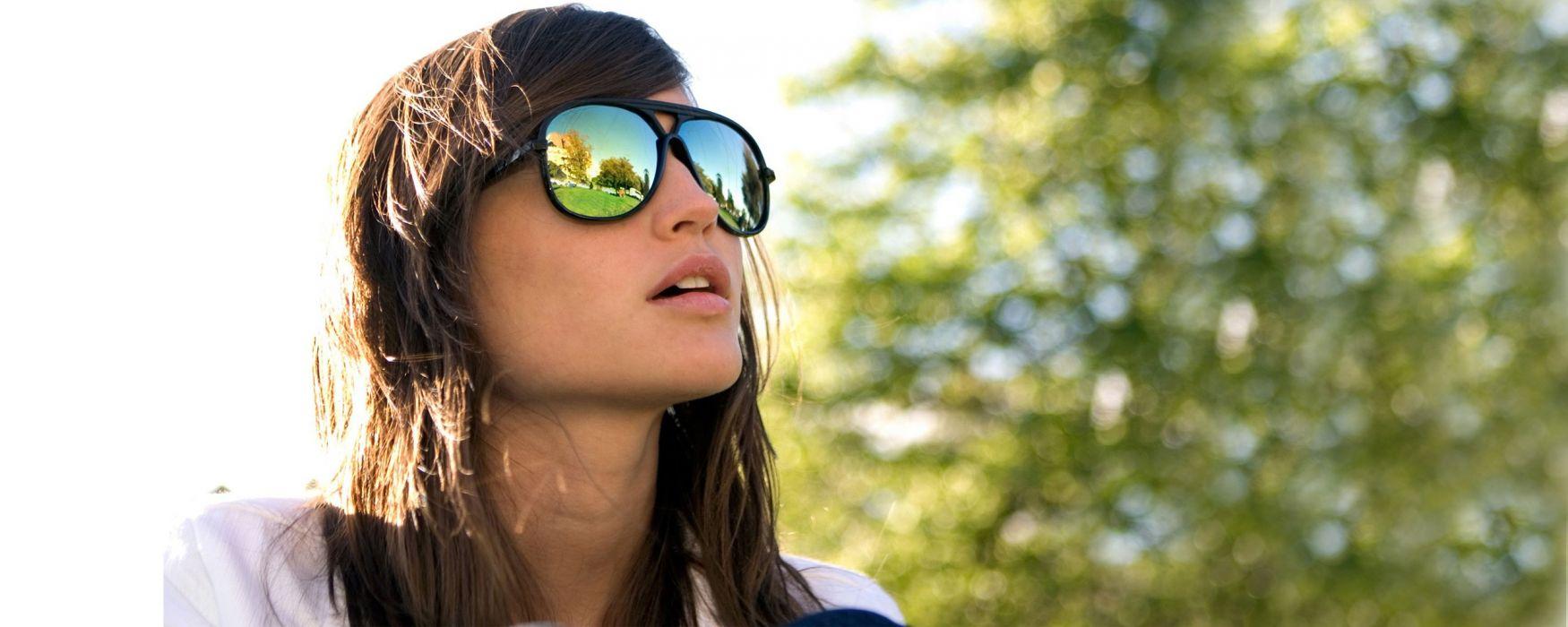 women Sun trees glass glasses summer sunglasses girls with glasses wallpaper