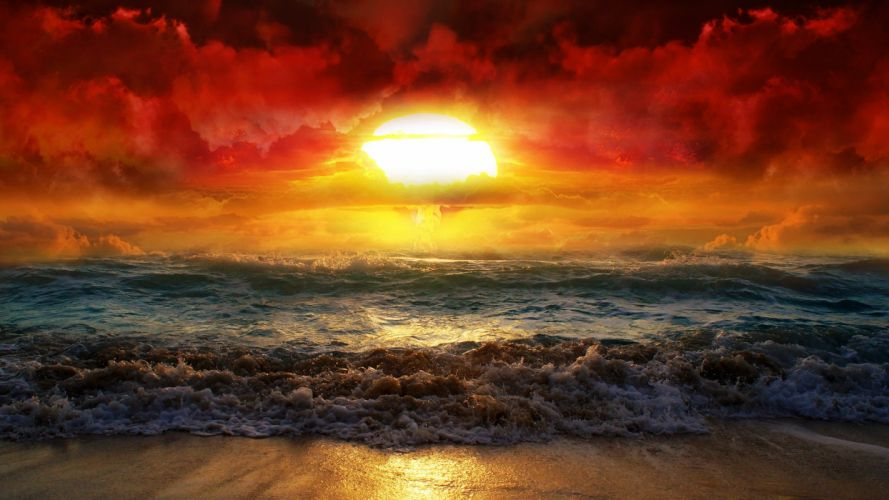 water landscapes nature Sun waves artwork nuclear explosions sea beaches wallpaper