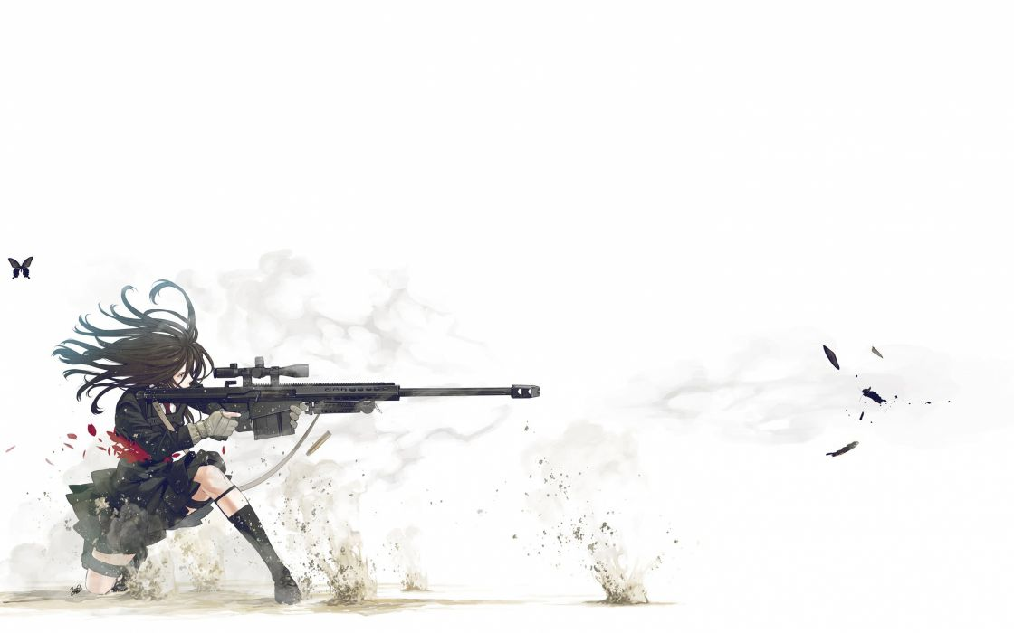 school uniforms sniper rifles anime simple background Kozaki Yusuke butterflies original characters wallpaper