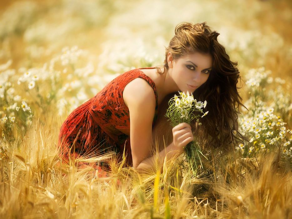 brunettes women flowers fields outdoors wallpaper