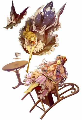blondes video games Touhou dress stars flying Moon falling down cups long hair tables barefoot purple hair books yellow eyes brooms Kirisame Marisa chairs bows black dress open mouth braids aprons purple eyes Patchouli Knowledge hats pink dress simple bac wallpaper