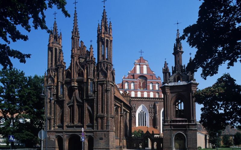 trees cityscapes architecture Europe churches wallpaper
