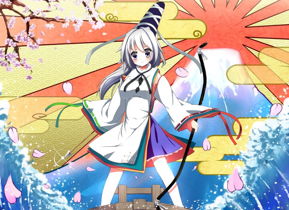 water video games mountains Touhou Sun Mount Fuji cherry blossoms trees blue eyes ships Sakura long hair ribbons weapons bows traditional dressing arrows ponytails white hair flower petals gray hair skyscapes hats Japanese clothes anime girls Mononobe no  wallpaper