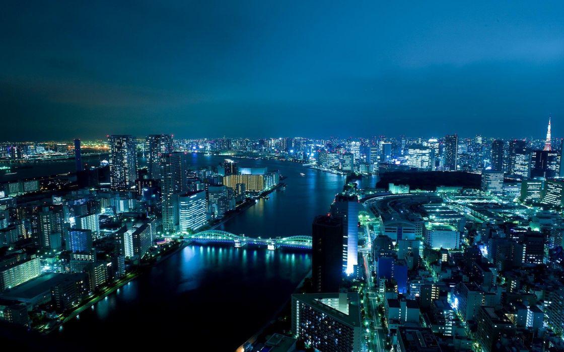cityscapes bridges buildings city lights rivers wallpaper