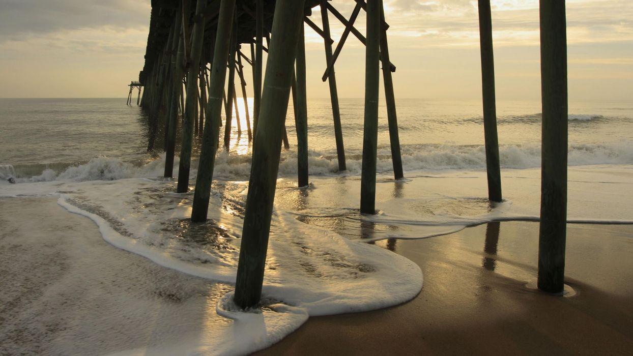 sunrise piers North Carolina sea wallpaper