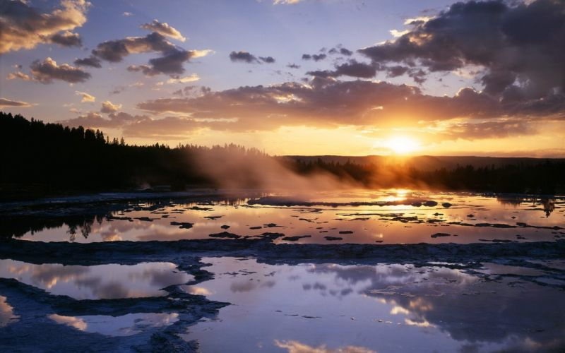 landscapes nature Wyoming Yellowstone National Park fountain wallpaper