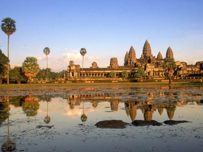 sunset Cambodia Angkor Wat wallpaper