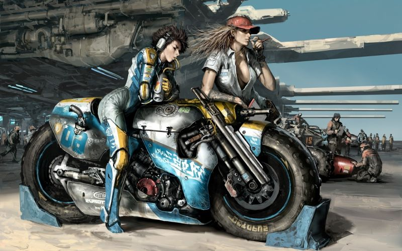 boobs women cleavage science fiction artwork motorbikes wallpaper
